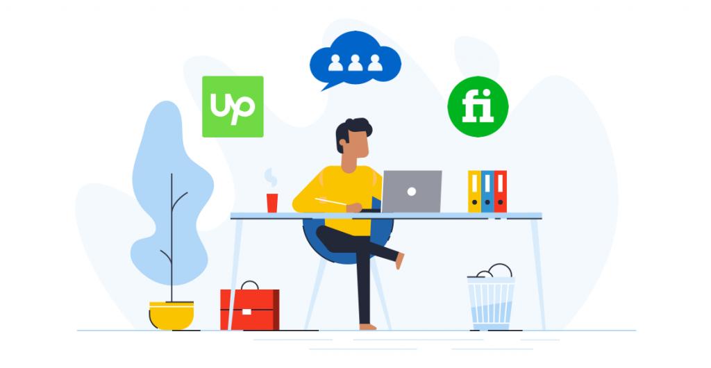 etrafında değişik platformların logolarının bulunduğu çalışan adama ait grafik